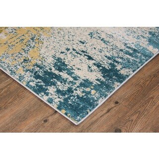 Make in Turkey Silver, Grey, Blue, Green, Yellow Area Rug  (2'7 X 5') - 2'7 x 5'