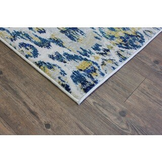 Make in Turkey Silver, Blue, Yellow, Off White Area Rug (2'7 X 5')