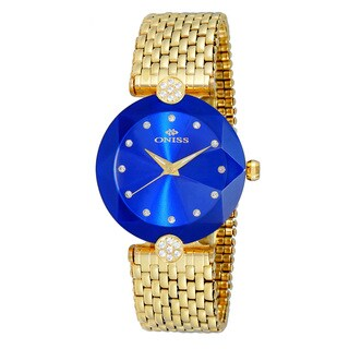 Oniss ON8777 Women's Goldtone/Blue Swiss Facet II Stainless Steel Watch