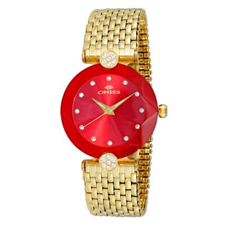Oniss ON8777 Women's Goldtone/Red Swiss 'Facet II' All Stainless Steel Watch