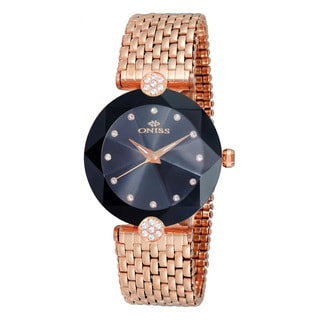 Oniss ON8777 Women's Facet II Rosetone/Black Stainless Steel Watch