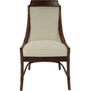 Lima Mahogany Rattan White Cushion Side Chair