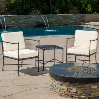Christopher Knight Home Petra Outdoor 3-piece Chat Set with Cushions