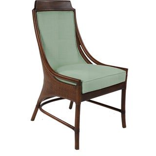 Lima Mahogany Rattan Blue Cushion Side Chair