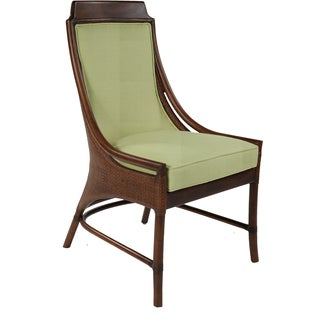 Lima Mahogany Rattan Green Cushion Side Chair