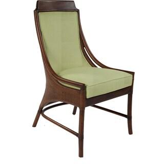 Lima Mahogany Rattan Green Cushion Dining Chair