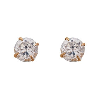 Decadence 14k Yellow Gold 3mm Round Solitaire Screw-back Stud Earrings