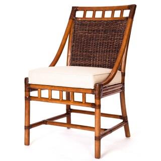 Mahogany Abaca White Cushion Side Chair
