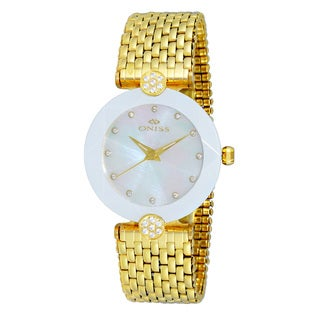 Oniss ON8777 Women's Goldtone/White Swiss 'Facet II' Stainless Steel Watch