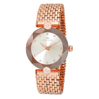 Oniss ON8777 Ladies Swiss -inchFacet II-inch All Stainless Steel Watch-Rose tone