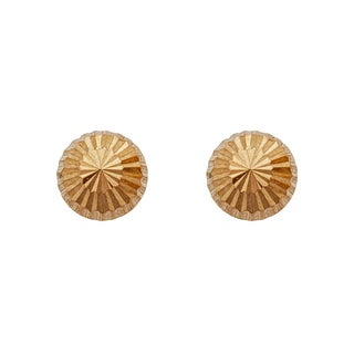 Decadence 14k Yellow Gold Diamond-cut 4mm Half-ball Stud Earrings