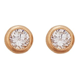 Decadence 14K Yellow Gold 5mm Round CZ Bezel Screw Back Stud Earring