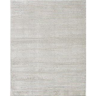 eCarpetGallery Grey/Ivory Synthetic Linear Shag Rug (7'10 x 9'10)