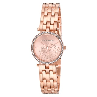 Laura Ashley Rose Gold Five Link Floral Embossed Dial Stone Bezel Watch