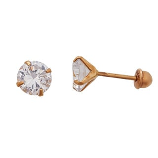 Decadence 14K Yellow Gold 7mm Round CZ Solitaire Screw Back Stud Earring