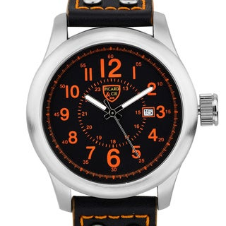 Picard & Cie Men's Stellihorn military inspired watch, 12 hour/ 24 hour scales, date, genuine leather strap