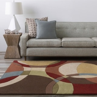 Hand-Tufted Contemporary Mayflower Circles Wool Rug (9'9 Square)