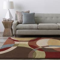 Hand-Tufted Contemporary Mayflower Circles Wool Area Rug (9'9 Square)