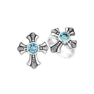 Handcrafted Sterling Silver Blue Topaz Cross Bali Ring (Indonesia)