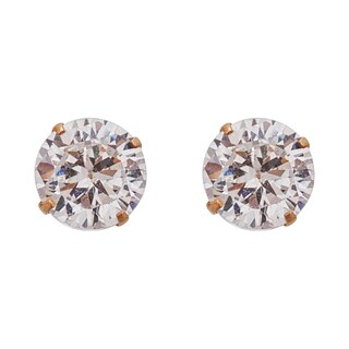 Decadence 14k Yellow Gold 5mm Round Solitaire Screw-back Stud Earrings