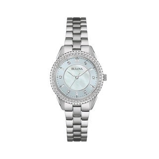 Bulova Women's 96L219 Silver Tone Stainless Steel and Crystal Watch with a Motherof Pearl Dial