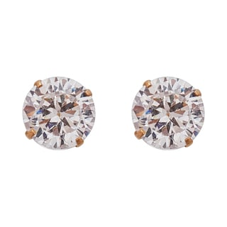Decadence 14K Yellow Gold 4mm Round CZ Bezel Screw Back Stud Earring