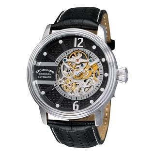 Stuhrling Original Men's Automatic Skeleton Prospero Black Leather Strap Watch