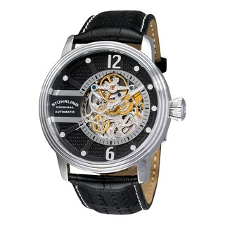 Stuhrling Original Men's Automatic Skeleton Prospero Black Leather Strap Watch