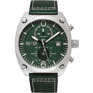 SO&CO New York Men's Monticello Quartz Chronograph Green Leather Strap Watch