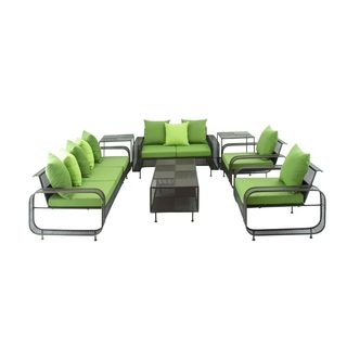 Black/Green Iron 76-inches, 55-inches, and 32-inches Wide 7-piece Outdoor Set