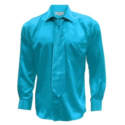 Ferrecci Men's Satin Dress Shirt, Necktie and Hanky Set