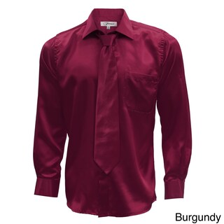 Mens Satin Dress Shirt, Necktie, & Hanky Set - XS to Big & Tall (More options available)
