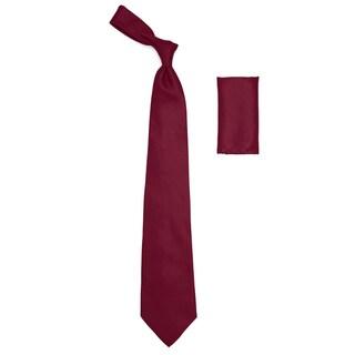 Mens Satin Dress Shirt, Necktie, & Hanky Set - XS to Big & Tall