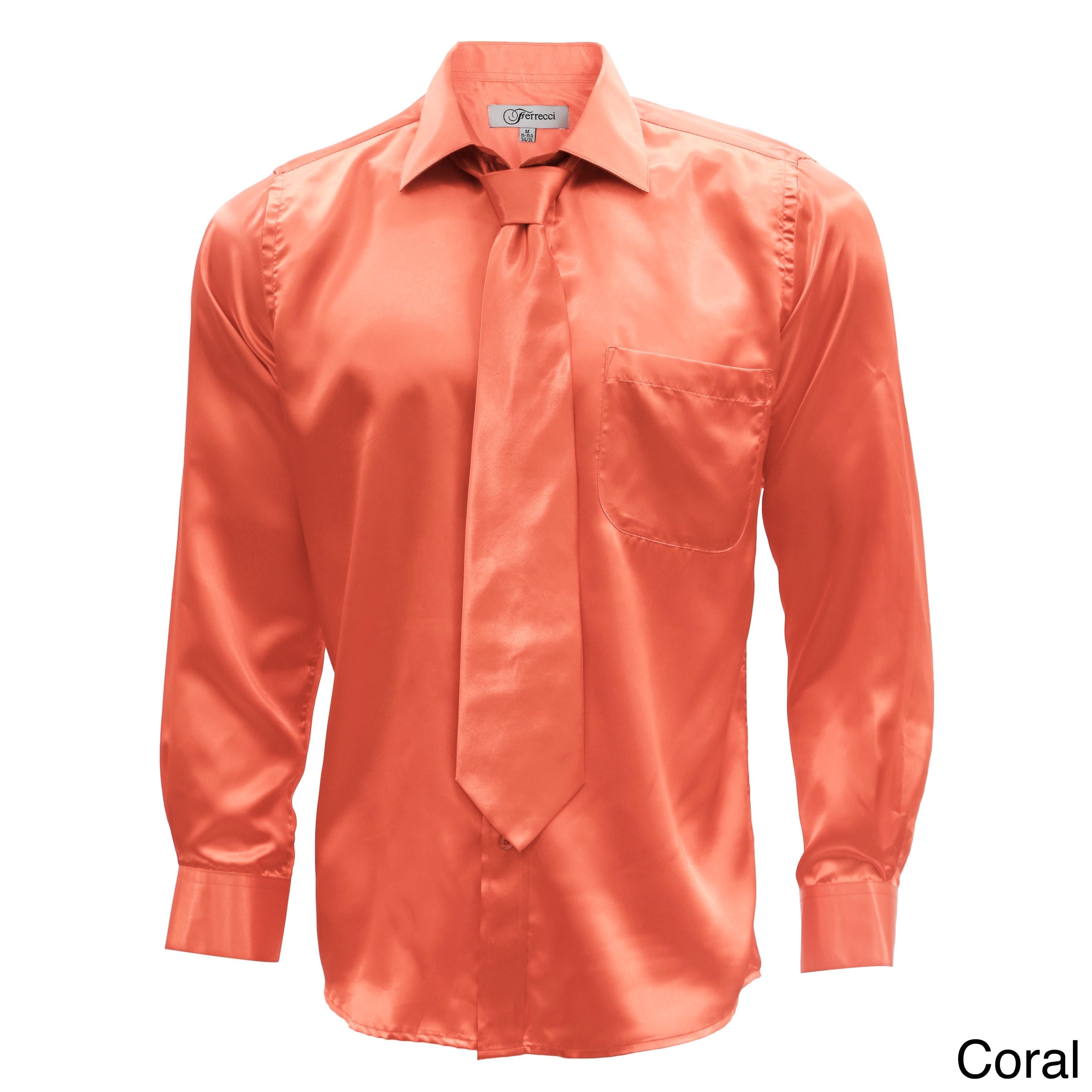 laest technology enjoy clearance price bottom price Satin Mens Dress Shirt Necktie & Hanky Set - XS to Big & Tall