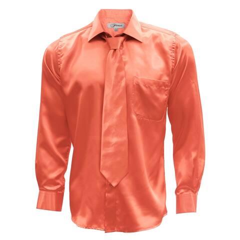 Satin Mens Dress Shirt Necktie & Hanky Set - XS to Big & Tall