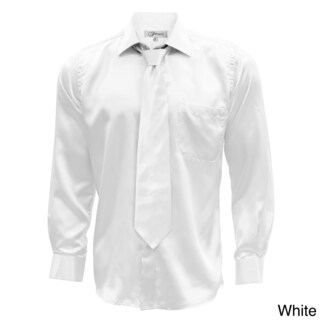 Satin Mens Dress Shirt Necktie & Hanky Set - XS to Big & Tall