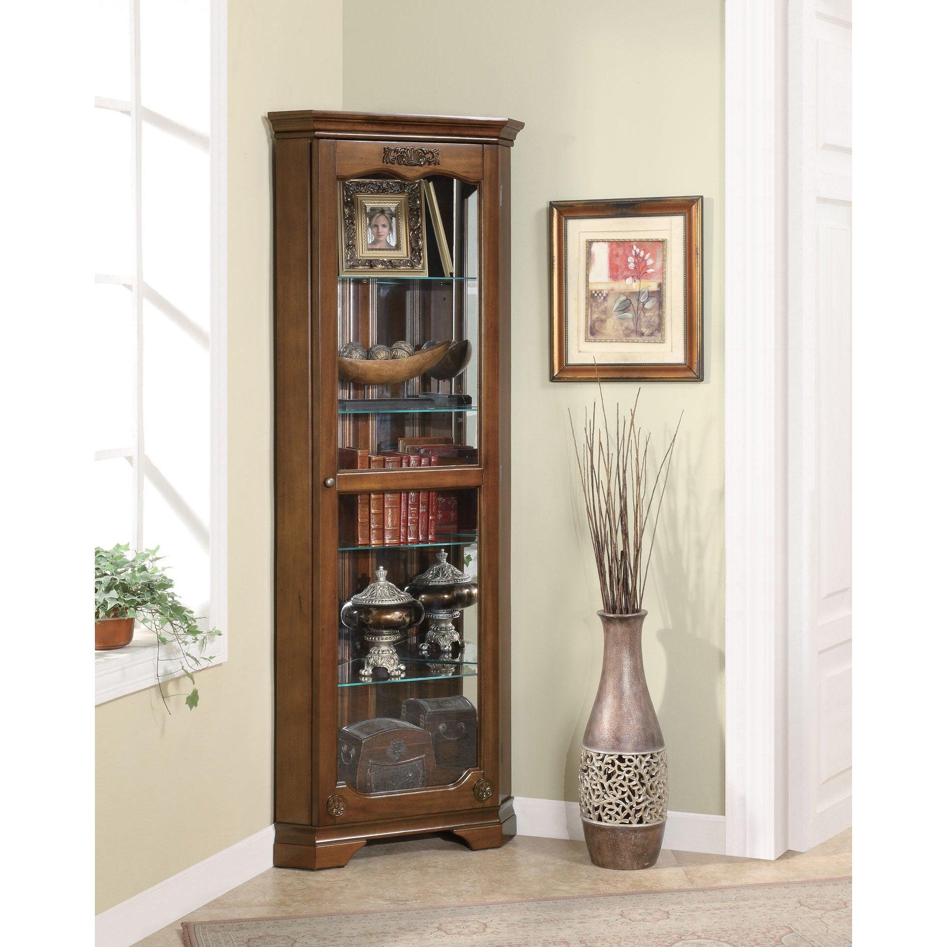 Coaster Furniture Deep Brown 5-shelf Corner Curio Cabinet...