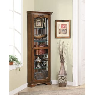 Deep Brown 5-shelf Corner Curio Cabinet
