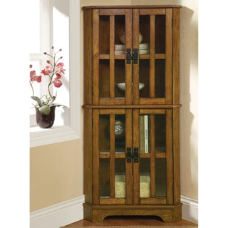 Warm Brown Oak 4-shelf Corner Curio Cabinet