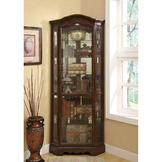 Brown Finish Glass 5-shelf Corner Curio Cabinet
