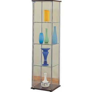 Coaster Company Glass Cappuccino 4-shelf Curio Cabinet