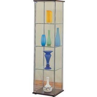 Glass Cappuccino 4-shelf Curio Cabinet