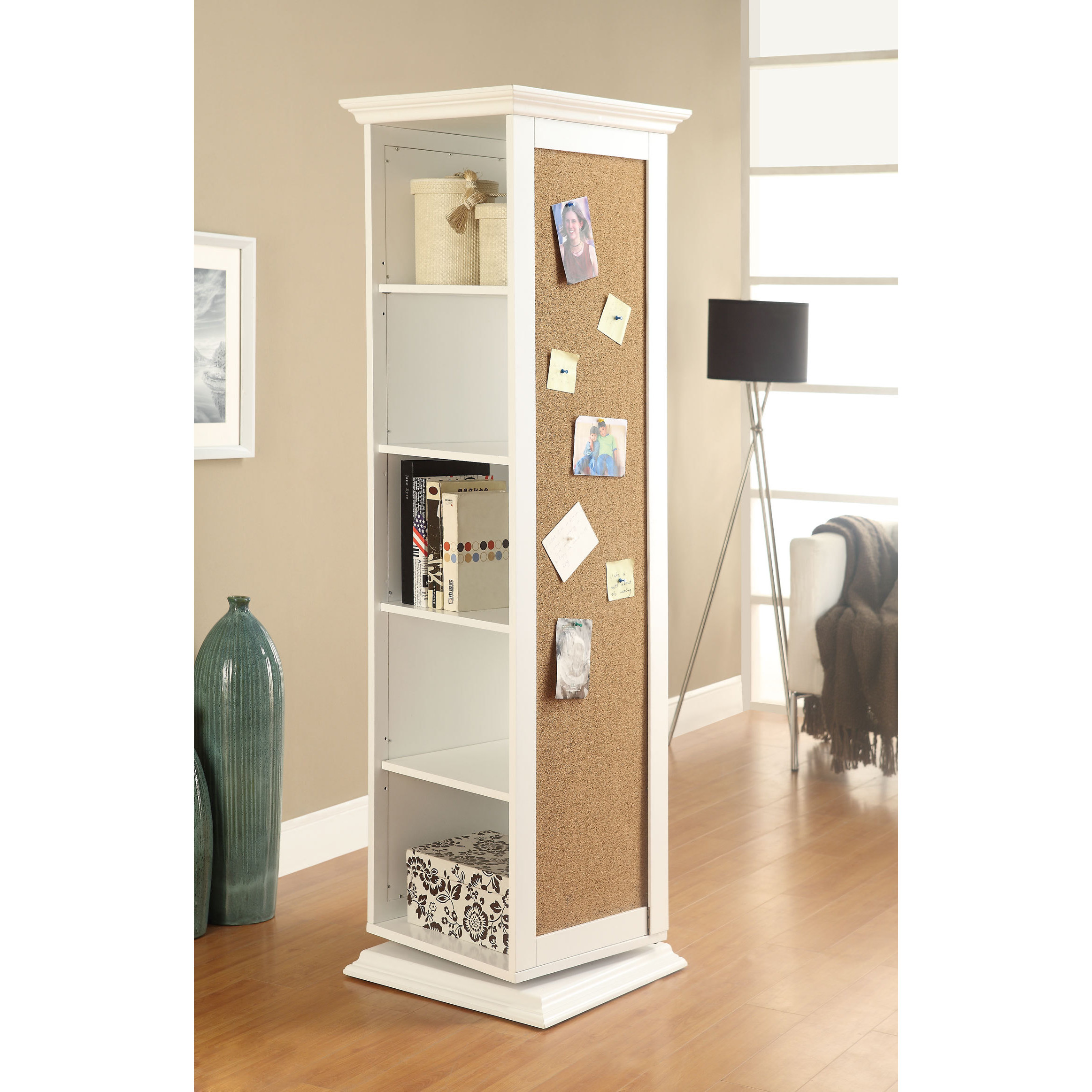 Oliver James Roxy White Cork Board Storage Cabinet