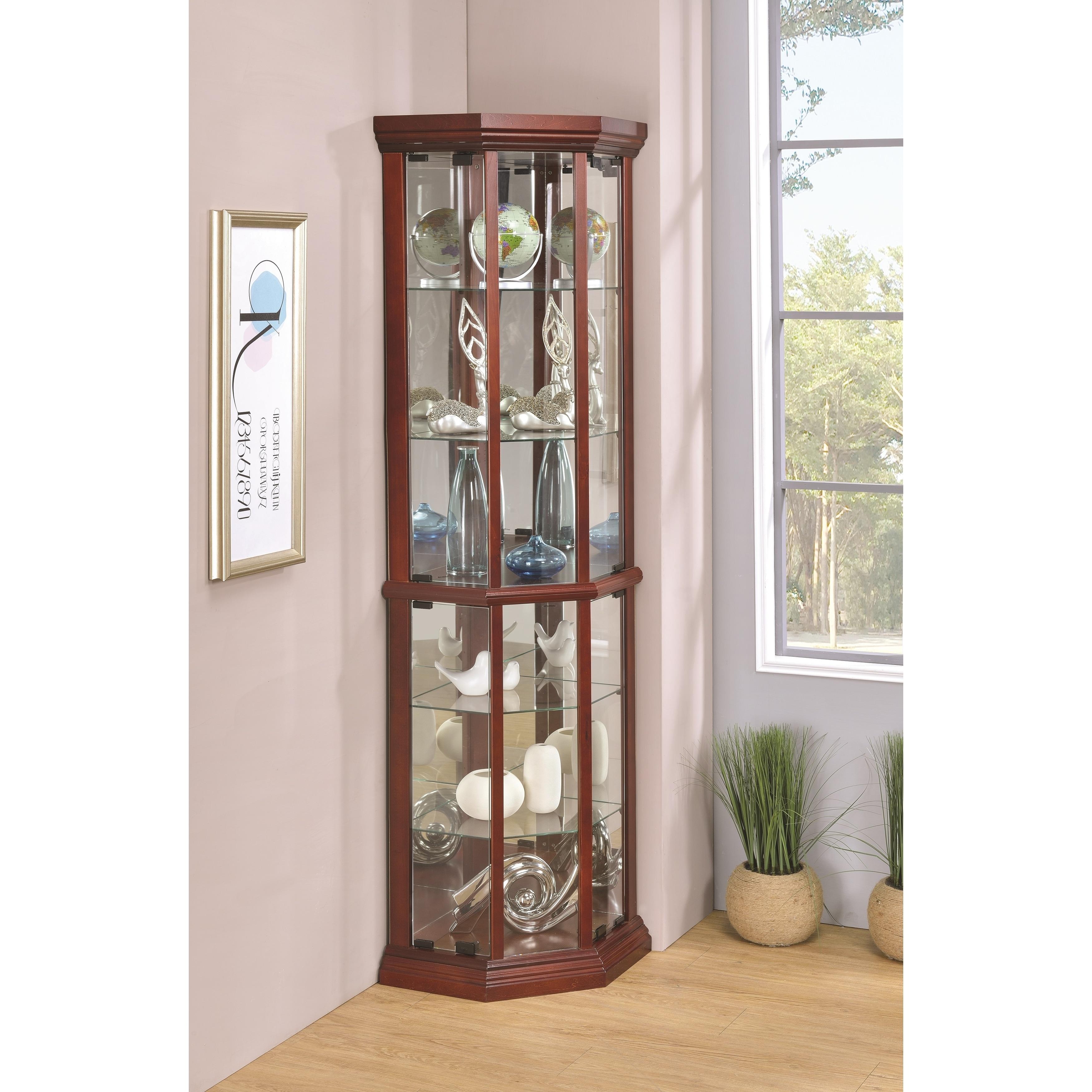 Coaster Furniture Cherry 6-shelf Corner Curio Cabinet (Ch...