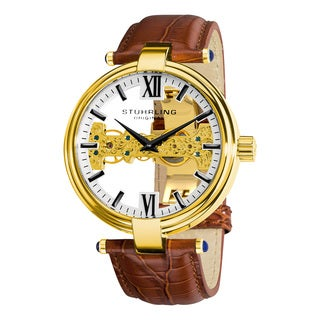 Stuhrling Oringnal Men's Mechanical Skeleton Royal Scepter Brown Leather Strap Watch