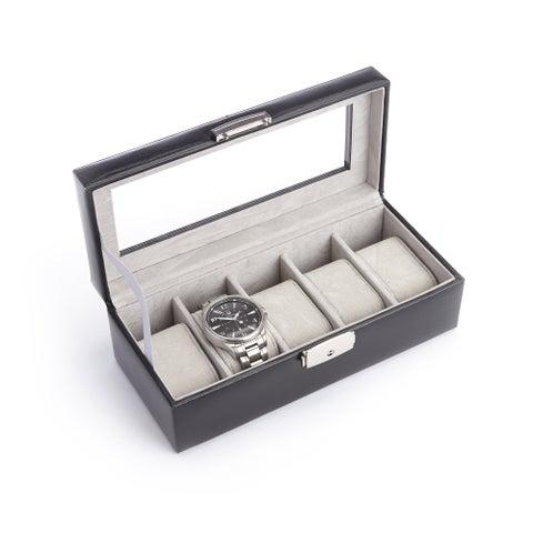 Royce Luxury 5 Watch Display Case in Italian Aristo Leather