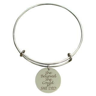 "Pink Box ""She Believed She Could So She Did"" Inspirational Stainless Steel Expandable Bangle Bracelet"