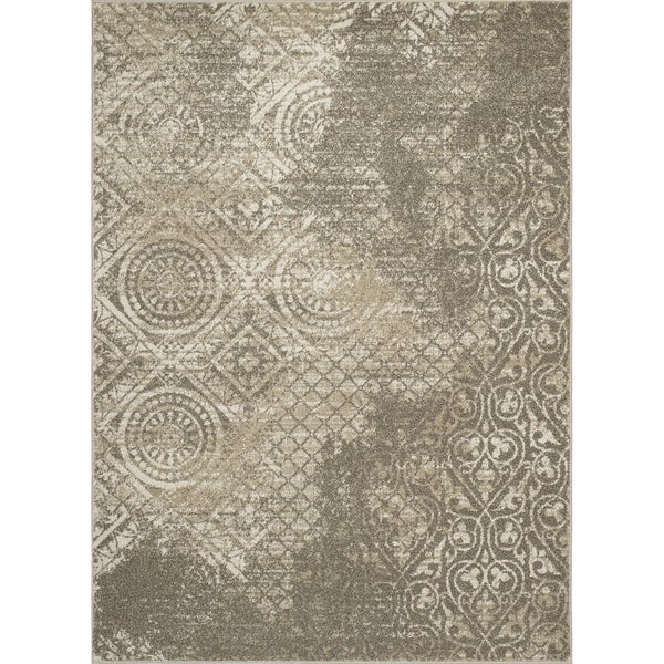 Machine-made Contempra Collection Origins Ivory Tonal Polypropylene Rug (2'7X4'1)
