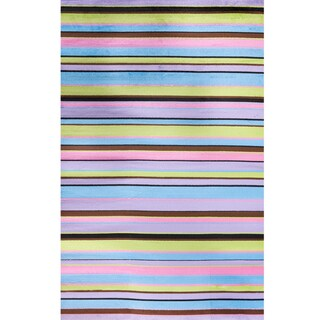 Machine-made Ingenue Collection Lines Multi Polypropylene Rug( 2'7X4')