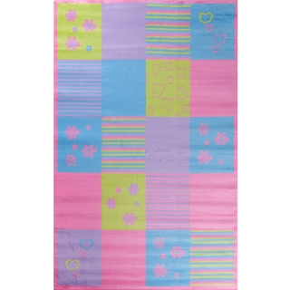 Machine-made Ingenue Collection Color Blocks Multi Polypropylene Rug( 2'7X4')